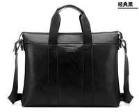 New leisure style Men's briefcase leather shoulderbag messenger bag business bag cross style men's laptop -5