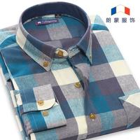free shipping spring autumn men warm casual shirt retro vintage long sleeve plaid male flannel shirt man's velvet dress shirts