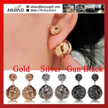 Горячая распродажа новый серебряный, золото и пистолет черный цвет двойной железной проволоки , свернутой стороны стержня серьги