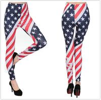 Free shipping Spring and summer milk silk american flag stripe patchwork legging  ankle length female skinny legging pants