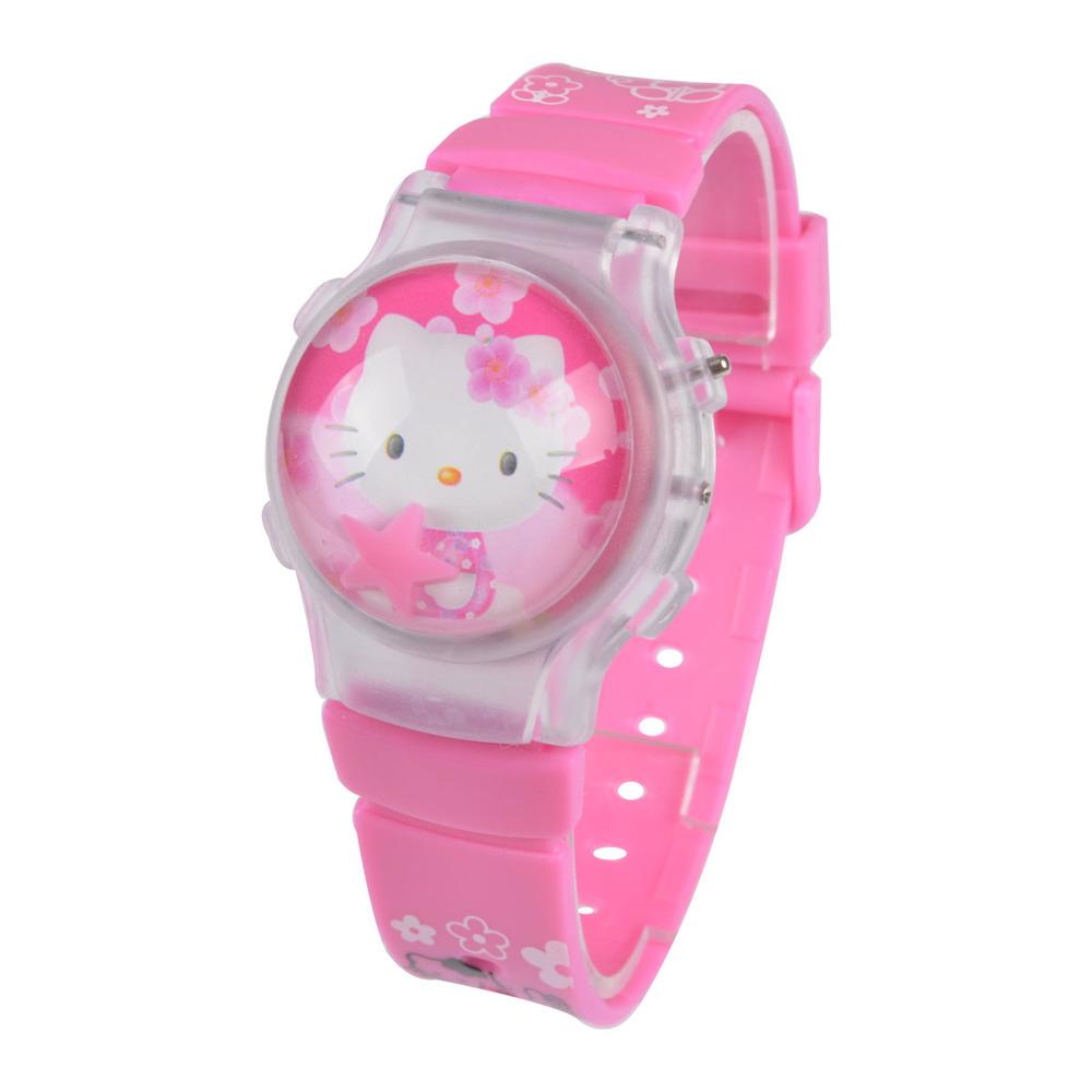 HOT sale high quality Silicone Pink Hello Kitty Watch Children fashion 3D Kid wrist Watch Girls gift(China (Mainland))