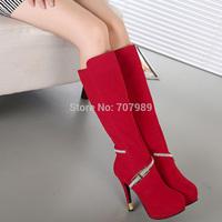 Low Price Wholesale New Fashion Rhinestone knee high boots Winter High Heeled Platform Pumps Women Shoes