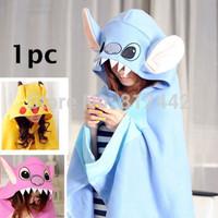 FREE SHIPPING New Hot 1pc Novelty Gift Plush Fleece Kawaii Cute Cartoon Character Lilo & Stitch Pikachu Wrap Clothing For Women