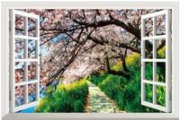 New  Pattern Japan Landscape PVC Fake Window Sticker 70*46cm  Art Mural Home Decor Removable Wall Sticker fj-31-2