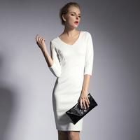 2014 jumpsuit plus size clothing V-neck slim three quarter sleeve solid color high waist skirt basic