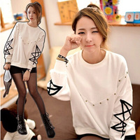 New Fashion Autumn Batwing Sleeve Preppy Style Rivet Sweatshirt Beading Pullover Hoodies Blouse Outerwear