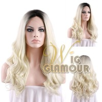 Ombre Black Mixed Light Blonde Color Body Wave Heat Resistant Synthetic Lace Front Wig #Color & Style# As the Picture Show