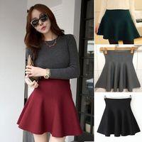 Double High Waist Sunny Lotus Leaf Pleated Wide Hem Knit Pure Color Half Shaped Skirt Skirts Womens Saias Femininas 2014#66782