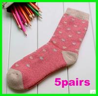 5pairs women's winter rabbit wool socks towel socks thickening knee-high