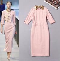 Europe Fashion Brand Design Runway Dress 2014 New Autumn Pu Leather Turndown Collar 3/4 Sleeve Wool Blended Straight Dress Pink