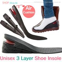 Men and Women 3 Layer Shoe Insole Air Cushion Heel insert Increase Taller Height Lift 7cm