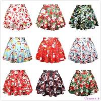 New Spring Summer Casual Sexy Women Mini Skirt High Waisted Flared Pleated Christmas Santa Xmas Print Mini Tutu Skirt PPQ1-PPQ10