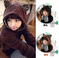 NEW Fashion Women Girl Hooded Leopard Print Kitten Ear Sweatshirt Hoodies Blouse Outerwear
