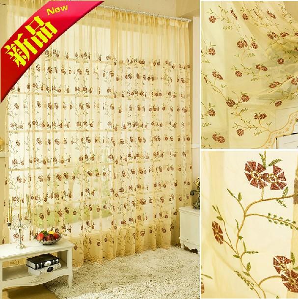 ( 1m telas) flores bordadas cortinas sala e quarto quarto infantil fios durável sujeira simples telas de seda frete grátis(China (Mainland))
