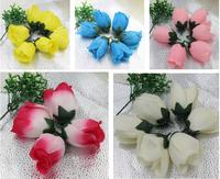 6 pcs Artificial flowers Silk Rose Flower Head  Bud Height 8cm