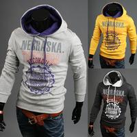 New Fashion Men's Print Pullover with hood a male fashion sweatshirt 3 Colors M~XXL