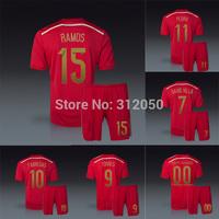 Espana 14 15 National soccer uniforms jersey with short kits Ramos fabregas silva iniesta xavi pedro torres pique diego costa