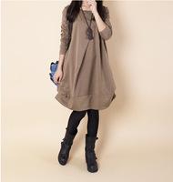 2014 new dress women Korean plus size loose casual dress o-neck long-sleeved autumn dress
