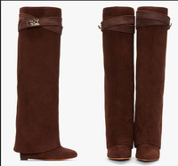 Hot Selling Women wedge heeled Riding Boots Grey suede leather Knee High Winter Boot Celebrity Shark Lock belt fold over booty