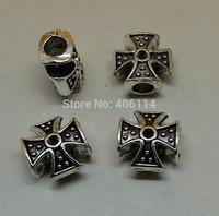 30pcs Antique Silver Cross Big Hole Beads 11x11x6.5mm For European Bracelets DIY A3545