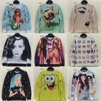 [Magic] 2014 newest women hoodies high quality both side printed sky/ladies/animal/skull 3d hoodie o neck brand sweatshirt