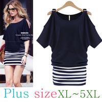 American Style Women's Open Shoulder Stripe Cotton Dress XL-XXXXXL PLUS SIZE/Free Shipping/Shirt/Blouse/One-piece Dress/Top