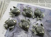 6pcs 8*23*24mm bronze fish christmas charms bracelet necklace pendants diy decorations cabochons jewelry accessories