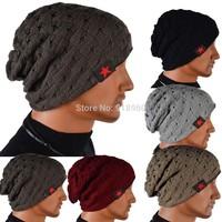 2014 new reversible knit beanie hat cap winter men & women hat beanie men Skull Chunky Baggy Warm Cap,COW