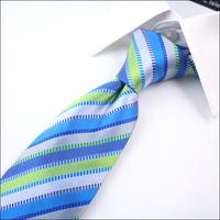 High quality 8cm silk men's business suits Neckties style - bright blue stripes Z036