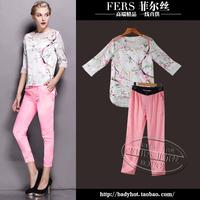 Fashion women's 2014 vintage print three quarter sleeve top trousers casual set 2pcs/set