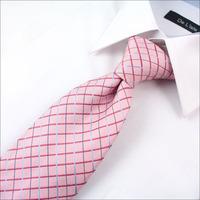 High quality The new grid-shaped pink Neckties married Wedding Neckties 8.5cm silk men's formal wear Neckties 0Z02