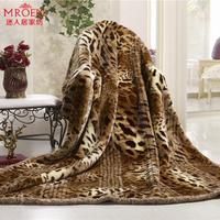 Raschel blanket super soft thickening double layer leopard print blanket double blanket