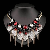 N-Z Acrylic Made Vintage Necklace with Tassels of Leaves Gold Plated Statement Luxury Wedding Jewelry 2 Colors JS-NZ0232
