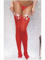 FREE SHIPPING Sexy Christmas Stockings Red Knee High Socks 7990