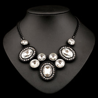 N-Z Acrylic Made Vintage Necklace with Rhinestones White Pendant Gold Plated Statement Luxury Jewelry JS-NZ0230