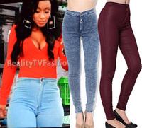 2013 women vintage American Apparel high waist easy jeans pencil Stretch Denim acid wash snowflakes pants white