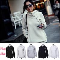 2014 hot-selling new fashion sports casual plus size zipper hooded sweatshirt hoodies womens girls outerwear blouse