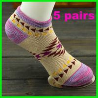 5pairs girl socks women's socks vintage national trend thin socks thick sports wholesale