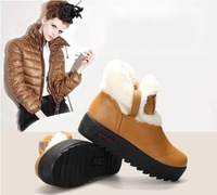 New2014 Winter Ladies Fashion Faux Rabbit fur Ankle Boots For Women Waterproof Platform Pu Leather Snow Boots Freeshipping B2395