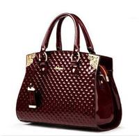 New 2014 Women Handbags Genuine Patent Leather Handbag Fashion Women Messenger Bags Brand Tote Designs Clutch Bag Shoulder Bag