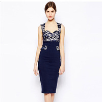 New 2014 Autumn Womens Lace Sweetheart Top Peplum Vintage Dress Vestido Fashion Elegant Slim Hips Work Dress #1053
