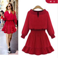 2014 New Europe fashion autumn winter casual dress women vestidos red/black color Free Shipping 8605