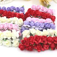 Free Shipping144pcs/lot 1-1.5cm head Multicolor Mulberry Paper Flower Bouquet/Wire Stem/ Scrapbooking Artificial Rose Flowers