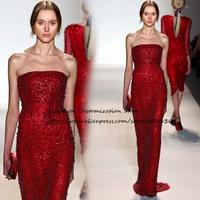 Custom Made Zuhair Murad Sheath Strapless Sequined  Lace Long Celebrity Dresses Fashion Catwalk Show Sleeveless Dress