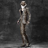2014 New High quality ( Jacket + pants + hat ) Men suits slim leopard print fashion Stage dress men's magician dress