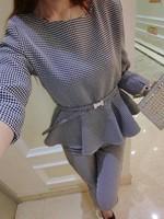 2014 Autumn Ladies Houndstooth hit color Occupational OL piece elegant pantsuits ladies pants suit (shirt + pants (with belt)