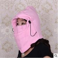 Free shipping women's hats weatherization fleece neck protection mask fleece cap headgear Windproof warm hooded hat masks