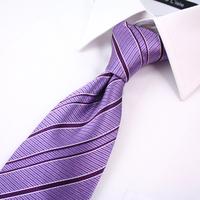High quality brand fashion 8.5cm silk tie men's business suits Purple stripes Z023