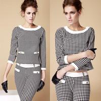 2014 Autumn Ladies Houndstooth hit color Occupational OL piece 2 piece set conjunto saia e blusa (shirt + pants (with belt)