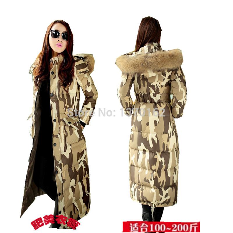 O & grátis frete , no inverno de 2014 nova fêmea longo grossa jaqueta de gola Nagymaros XL modelo e camuflagem(China (Mainland))